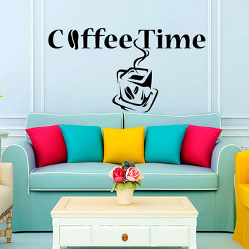 Coffee Time Cafe KItchen Wall Decal Vinyl Sticker Wall Decor Home Interior Design Art Murals NA39