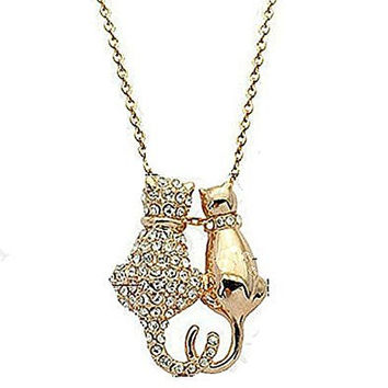 Basket Hill Watches and Gifts Gold Tone, Crystal Cat Couple w/ Heart Tails Necklace