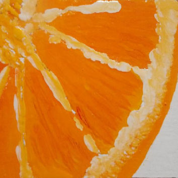 Orange   Art  Acrylic painting orange  Aceo art original watercolor painting still life  painting size . 2.5/ 3.5 Inch