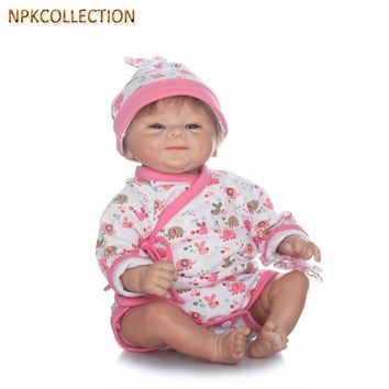 NPKCOLLECTION Real Dolls Reborn Baby Born Doll with Clothes Pacifier,37CM Silicone Dolls Reborn Babies Soft Toy Girl XMAS Gift