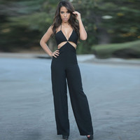 Black Halter Cutout Back Zip Jumpsuit