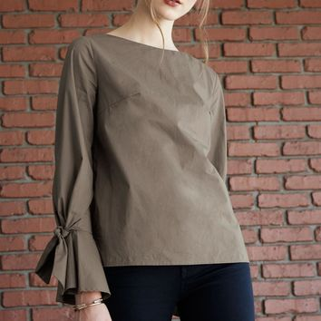 Monay Olive Long Sleeve Top