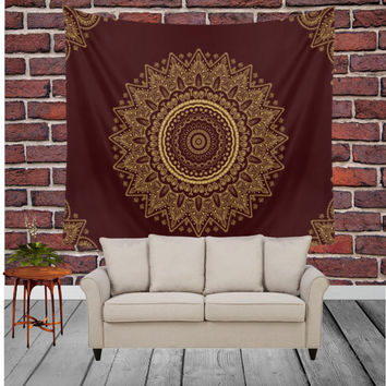 Wall Tapestry - 'Royal Red and Gold Lace' - Home,Decor, Wall,Modern, Home Warming Gift, Symmetry, Harmony, Bohemian, Boho, Hippie, Red
