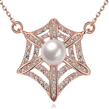 Rose Gold Plated Spiderweb Inspired Necklace