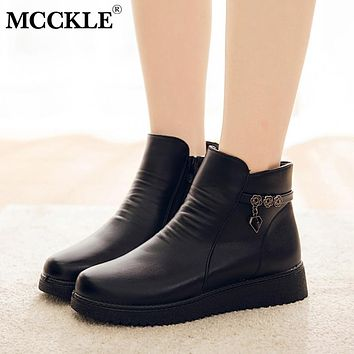 MCCKLE 2019 Women Warm Zip Plush Ankle Boots Casual Wedges Female PU Leather Shoes Black Fashion Non-slip Footwear for Mother
