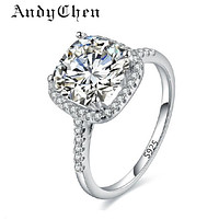 Silver Plated Wedding Ring Square Simulated Diamond