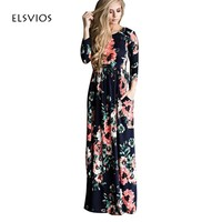 ELSVIOS Plus Size Women Floral Printed Dress Long Boho Beach Dress Floor- Length Three Quarter sleeve Loose Maxi Dress Vestidos