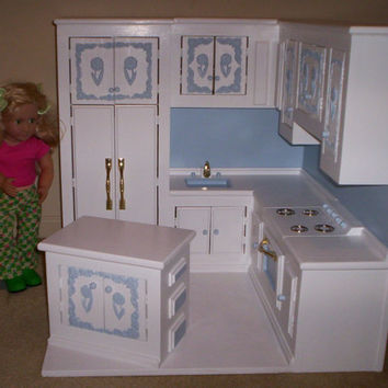 kitchen made for American Girl size doll furniture stove,refigerator,sink all in one kitchen  blue flower design