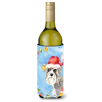 Christmas Lights Schnauzer #2 Wine Bottle Beverage Insulator Hugger CK2490LITERK