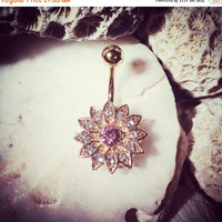 20% OFF ON SALE Daisy Jewelled Gold Belly Bar | 14G Floral Navel Bar Pink Flower Belly Button Gem Navel Ring Rhinestone Crystal Belly Ring B