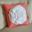 White Rose on Coral Pillow Coral Pink Red Orange by bedbuggs