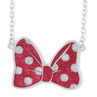 Minnie Mouse Glitter Polka Dot Bow Pendant Necklace  | Claire's