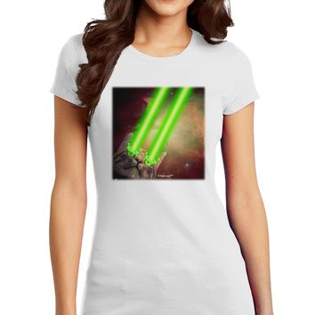 Laser Eyes Cat in Space Design Juniors T-Shirt by TooLoud
