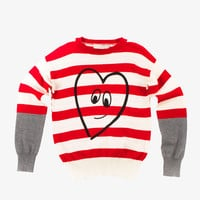 Stella McCartney Dolly Stripe Heart Sweater- 348878 - FINAL SALE