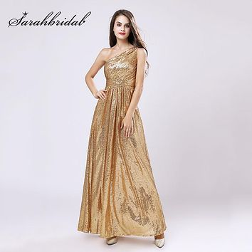 One Shoulder Gold Sequin Bridesmaid Dresses Cheap A Line Maid of Honor Dress Women Plus Size Long Pageant Party Gowns OS421
