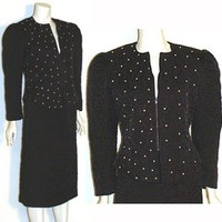 80s Glam Vintage Dress Suit Rhinestones