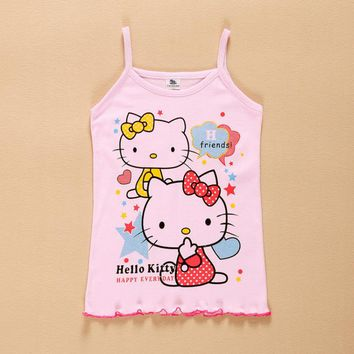 Sweet Baby kids girl Hello Kitty Tank tops girls Vest vetement fille shirt Camisole Tees enfant  children camisetas clothes