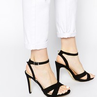 Blink Black Cross Toe Heeled Sandals