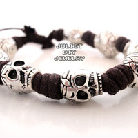 Skull silver bead hemp cord bracelet from Urban Zen Jewelry Boutique