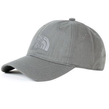 Gray Color The North Face Embroidered Baseball Cap Hat