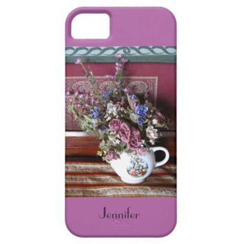 iPhone SE, 5/5s Case Teapot Flowers Purple, Orchid