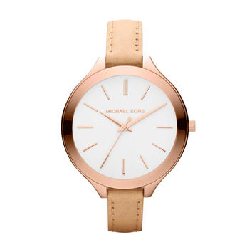 Michael Kors Women's MK2284 Runway Slim Beige Strap Watch | Overstock.com Shopping - The Best Deals on Michael Kors Women's Watches
