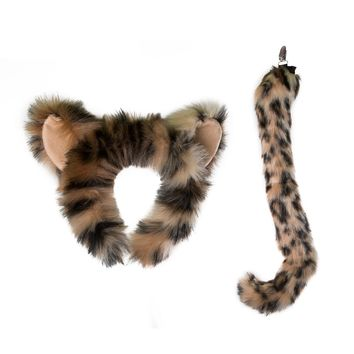 Plush Snow Leopard Ears Headband and Tail Set for Snow Leopard Costume, Cosplay or Safari Party Costumes