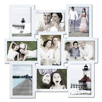 Decorative White Wood Wall Hanging Collage Basket-Weave Picture Photo Frame