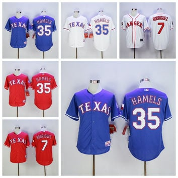 New Baseball 35 Cole Hamels Jersey Texas Rangers 7 Ivan Rodriguez Jerseys Cooperstown Flexbase Cool Base Pullover Button White Grey Blue Red