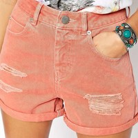 ASOS Denim Mom Shorts In Red With Rips