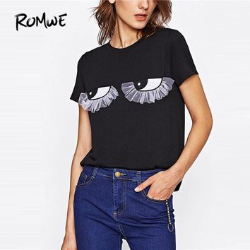 ROMWE Eye Embroidery Patch Mesh Tee Shirt 2017 New Fashion Black Round Neck Short Sleeve Women Top Ruffle Cute T Shirt