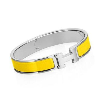 Hermes Fashion Women Men Delicate Yellow Enamel Wide Clic-Clac H Couple Bracelet I