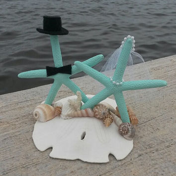 Aquamarine/ Tiffany Blue Bride and Groom Cake Topper White Knobby Real Starfish on a Giant Real Sand Dollar!