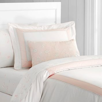 Monique Lhuillier Ethereal Pieced Sateen Duvet Cover
