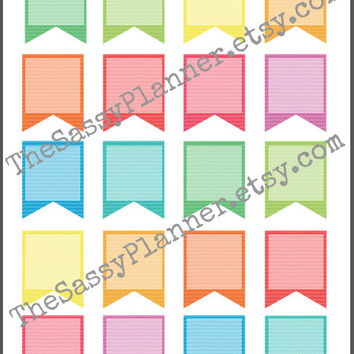 Printable Multicolor Colorful Chevron Banner Stickers for Erin Condren Life Planner