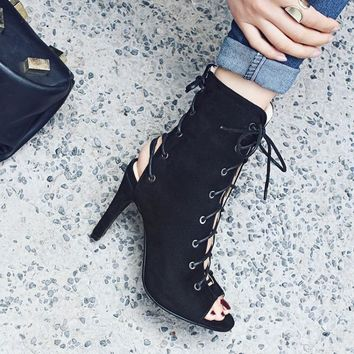 Lace UP Cut Out Peep Toe Stiletto High Heels Short Boot Sandals