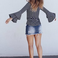 Line It Up White And Navy Off The Shoulder Striped Top