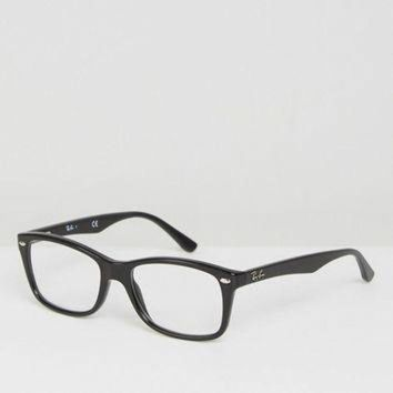 Ray Ban Clear Lens Black Wayfarer Glasses at asos.com