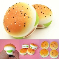 Sesame Squishy Hamburger Soft Bun Charms Key Chain Toys