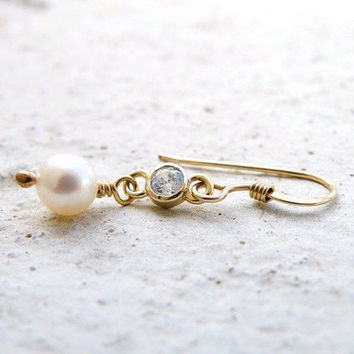 Bridal Earrings White Pearl Gold Vermeil CZ Earrings - Pearl E6Gold Bridesmaid Jewelry Wedding Jewelry