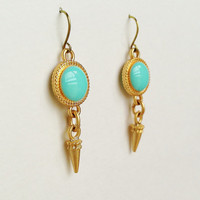 Turquoise Green Earrings, Turquoise Green Disc Earrings with Gold Spike Charms, Hypoallergenic, Resin Jewelry For Her