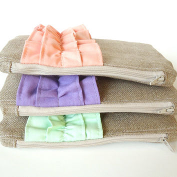 Set of 3 - Spring Pastel Burlap Ruffle Zipper Clutch - Pastel Bridesmaid Gift - Peach Lilac Purple Mint Green Wedding Bags