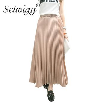 SETWIGG 90cm Long Chiffon Pleated Skirts Elastic Waist Belt Casual Candy Maxi Long Bohemian Summer Skirts SG03