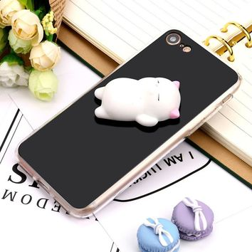 Squishy 3D Cute Lazy Cat Clear Silicone Back Soft Full Protection Case Cover For iPhone 7 4.7 inch Mobile phone Case Cover