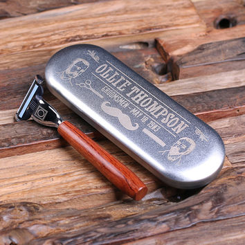 Personalized Mach 3 Razor Blade with Tin Box Fathers Day Groomsmen Gift for Dad
