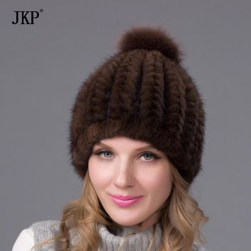 2017 new fashion winter warm hat genuine mink fur ball cap with copious female beanie knit cap and liner 6 colors BZ-11