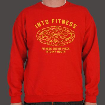Into Fitness, Fitness Entire Pizza Into My Mouth Men's Sweater