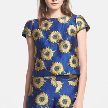Women's Alice + Olivia 'Jorgie' Sunflower Jacquard Crop Top