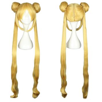 Sailor Moon Women Long Wigs with 2 Ponytails Double Bun Hair Anime Cosplay (Size: yellow)