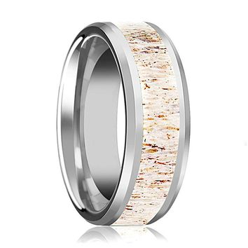 Tungsten Off White Antler Inlay - Tungsten Wedding Band - Beveled - Polished Finish - 8mm - Tungsten Wedding Ring
